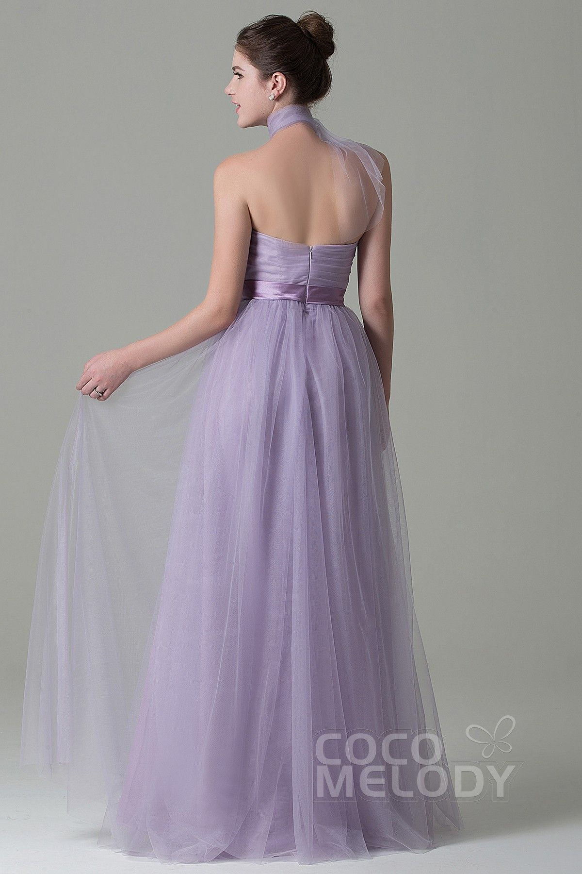 77e1b9282058 Charming Sheath-Column Natural Floor Length Tulle Light Purple Sleeveless  Zipper Convertible Bridesmaid Dress with Ribbons COZF1500B