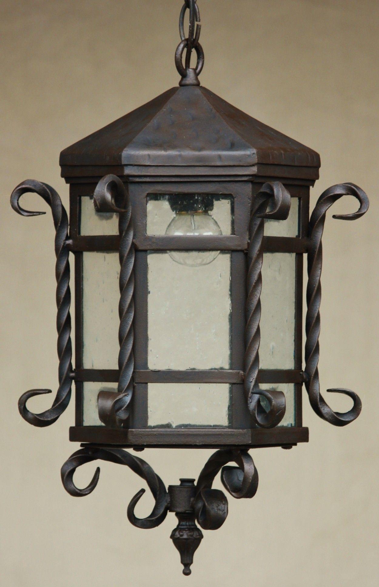 Hanging Lantern-Hand Forged-Wrought Iron/ Tuscan lantern Height : 18 ...