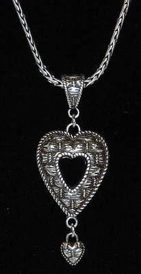 """BRIGHTON Silver Tone Wheat Chain Necklace w/ Open Heart Drop Pendant 16""""-18"""""""