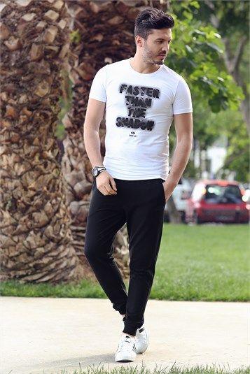 14b9ccb856faa Tommy Life Yazı Detaylı Beyaz Tshirt & Siyah Eşofman Alt Erkek Eşofman Takım