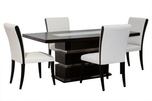 Blackandwhiteelegantdiningroomfurnitureset2  Easy Decor Classy White Leather Dining Room Chairs Sale Decorating Design