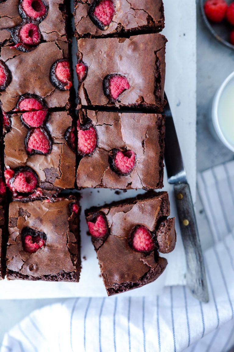 Rezept saftige Himbeer Brownies