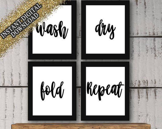 "Photo of Laundry Room Wall Decor Set ""Wash, Dry, Fold, Repeat"" Prints *(Instant Digital Download)*"