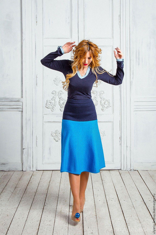 Юбка женская Артикул: 1603V01 - тёмно-синий, однотонный, юбка, вязаная юбка