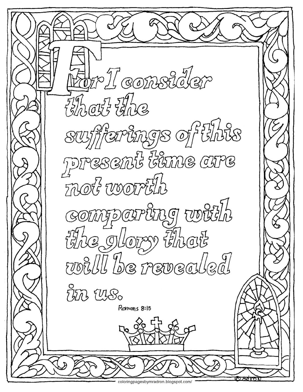 Coloring Pages For Kids By Mr Adron Romans 8 18 Free