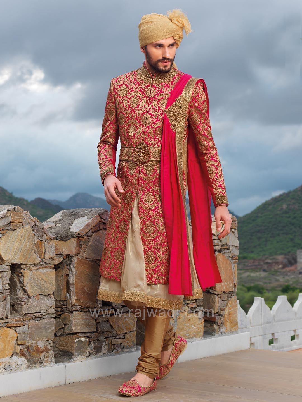 Deep pink and golden color indo western with designer dupatta