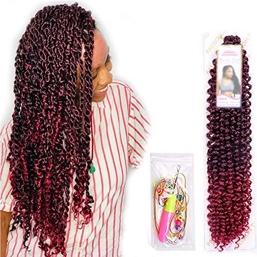 Shop for 6Pcs Passion Twist Ombre Burgundy Synthetic Hair Black Women Andromeda 18 Inch Soft Long Braids Passion Twist Crochet Braiding Hair Extensions 5 Free Gift (1B/BUG) online - The108Ideashits