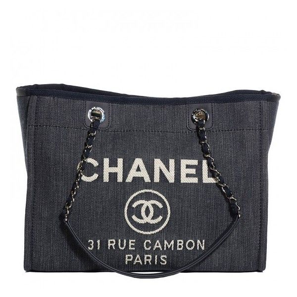 414d63b64a71 CHANEL Canvas Deauville Small Tote Dark Blue ❤ liked on Polyvore featuring  bags
