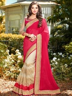 Magnetic Hot Pink Color Net And Chiffon Patch Border Party Wear Saree