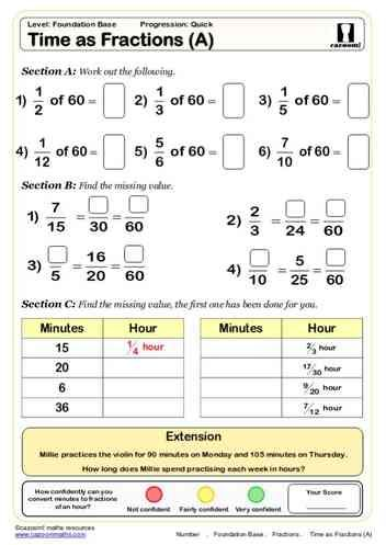 Time As Fractions A Maths Worksheet Teaching Math Math Fractions Worksheets Math Worksheet