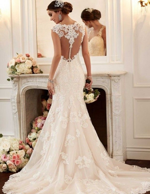 Elegant Vintage Appliques Pearls Lace Mermaid Weeding Dress ...