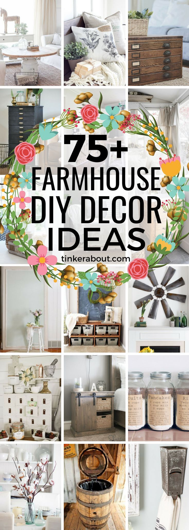 Do you love the Farmhouse Style? This post is perfect for you! Click through to find 75+ DIY Farmhouse Decor Ideas! Farmhouse decor DIY, Farmhouse Decor On A Budget, Farmhouse Decor living room, farmhouse decor kitchen, farmhouse decor bathroom - #farmhouse #farmhousestyle #farmhousedecor #diyhomedecor #fixerupper #homedecorideas