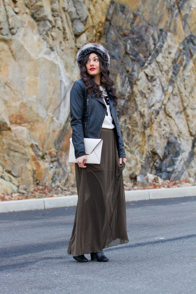 Black maxi dress winter outfits