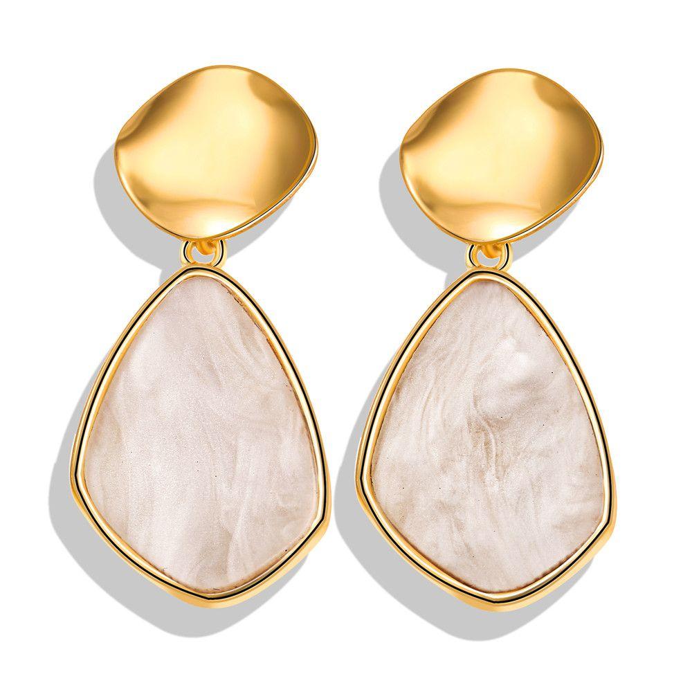 Fashion Geometry Alloy Acrylic Earrings Bohemian Women Ear Stud Jewelry 1 Pair