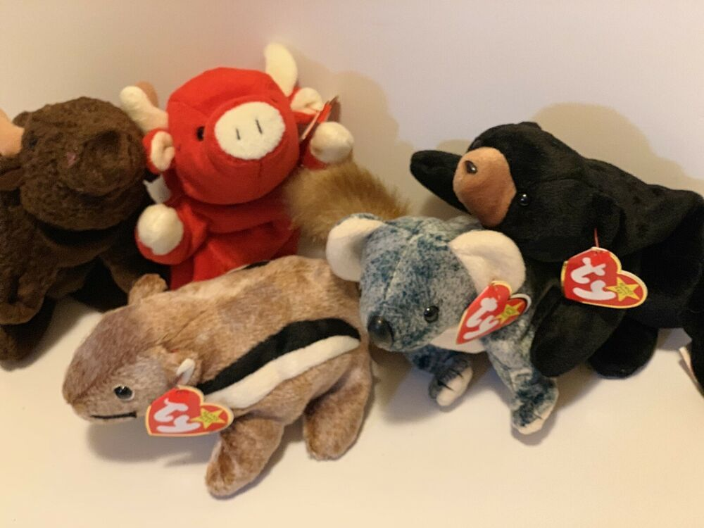 69661733a2e Lot of 5 Ty Beanie Babies Roam Blackie Snort Chipper Eucalyptus Plush Toys   Ty