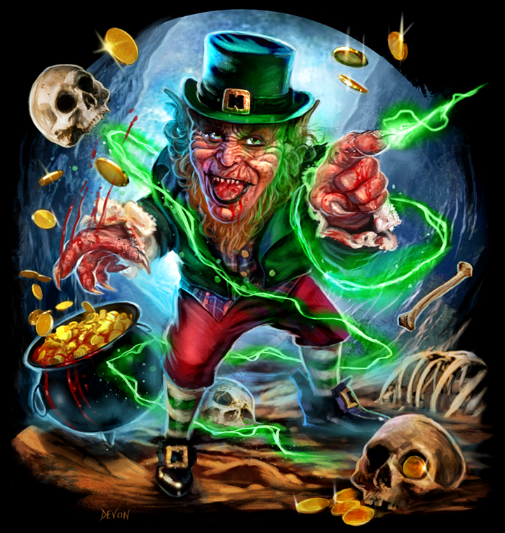 """7a615a36 brokehorrorfan: """"Cavity Colors has a Leprechaun design by Devon Whitehead  available on T-shirts ($26), tank tops ($26), and baseball tees ($36) for  72 hours ..."""