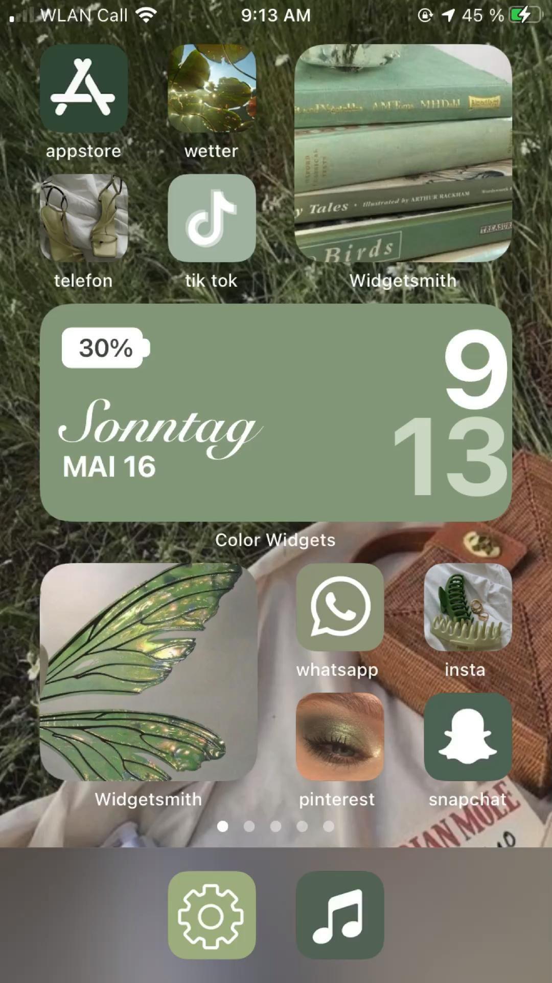 ios14 homescreen green aesthetic