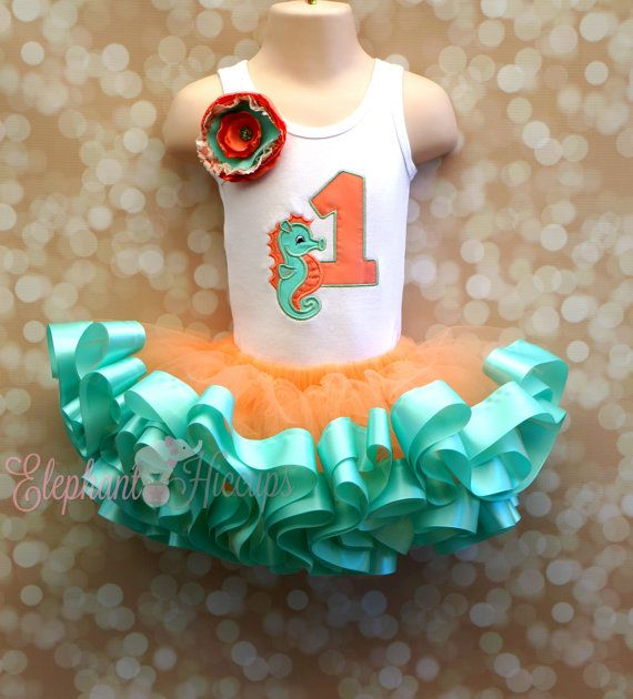 Coral and Mint Under the Sea Seahorse Birthday Outfit on Etsy, $65.00
