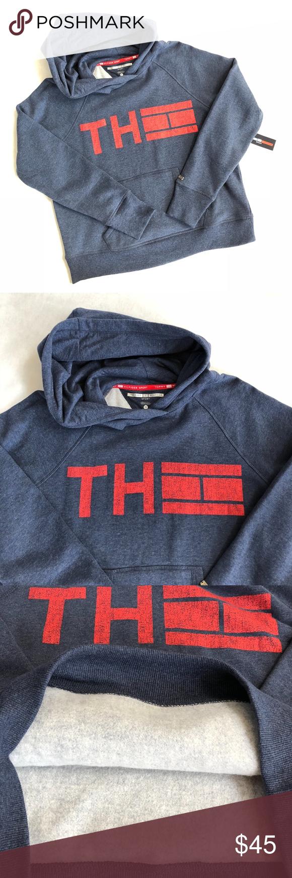 Tommy Hilfiger Th Flag Blue Red Sweatshirt Hoodie Nwt Red Sweatshirt Hoodie Sweatshirts Hoodies Womens