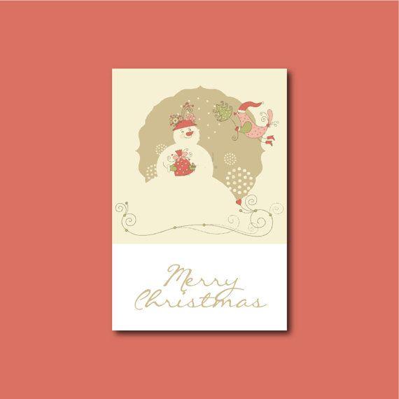 Snowman Greeting Card Customizable Digital File by jacquelinemjdesign Paper Goods   snowman Christmas card  冬カード  クリスマス  クリスマスカード