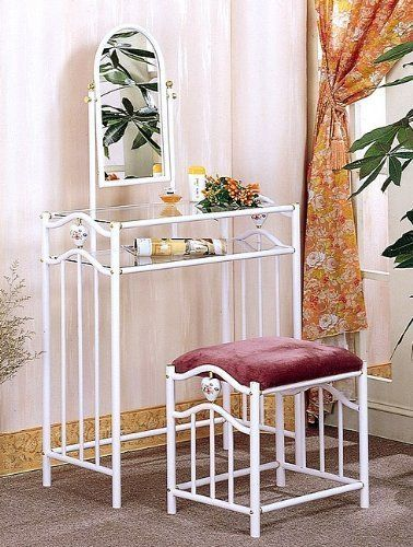 Coaster Glossy White Metal Makeup Vanity Table Set with Mirror in Mauve  Velour by Coaster HomeCoaster Glossy White Metal Makeup Vanity Table Set with Mirror in  . White Metal Vanity Set. Home Design Ideas