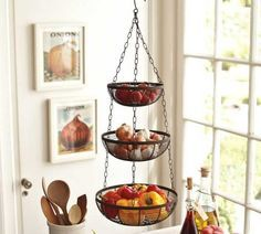 Good Wire Three Tier Hanging Basket | Hanging Wire Basket, Wire And .