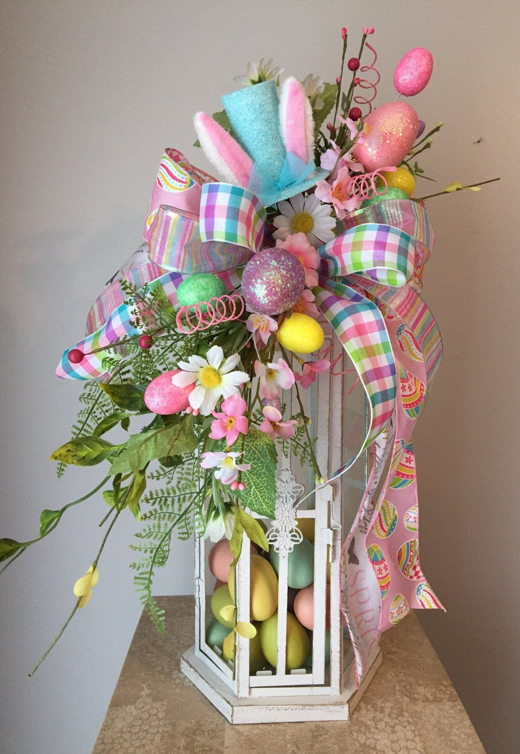 FUNNY BUNNY (Blue) - Decorative Whimsical Chic Easter/Spring Lantern Swag Tabletop Arrangement