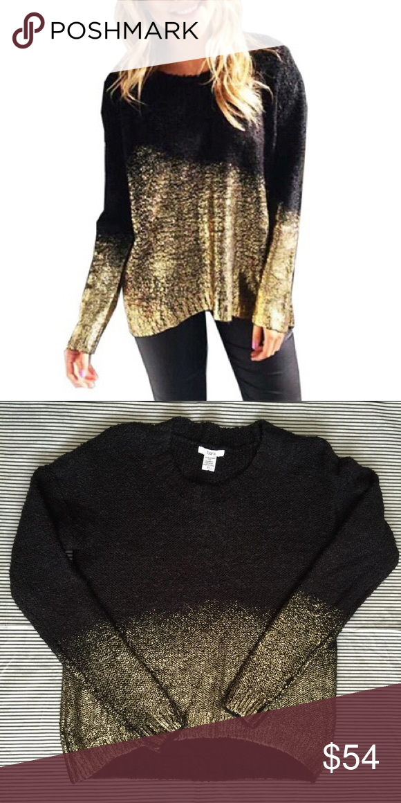 BAR III black and gold ombré sweater Black crew neck sweater with gold foil  ombré. From BAR III. Like new. LF Sweaters Crew   Scoop Necks ad9a4473f