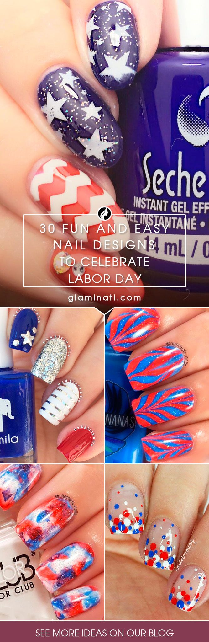 30 Fun Easy Nail Designs to Celebrate Labor Day | Blue nails