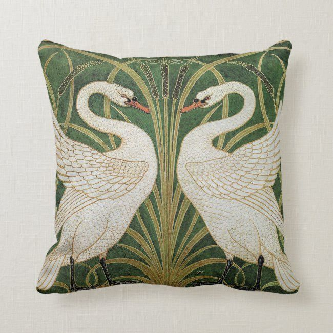 Swans Rush & Iris by Walter Crane Throw Pillow #swans #iris #birds #walter #crane #ThrowPillow #pillows #homedecor #homedecorating #decorating #livingspace #home #livingroom #bedroom