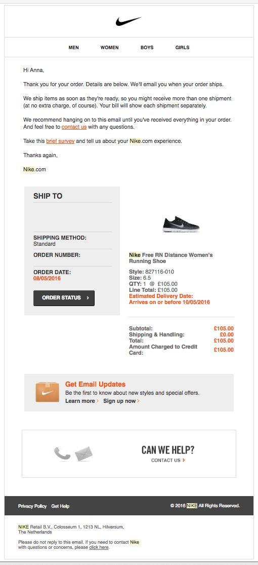 Críticamente cirujano como el desayuno  Nike - Trigger transactional email - Clean, clear, good UX, Simple ...