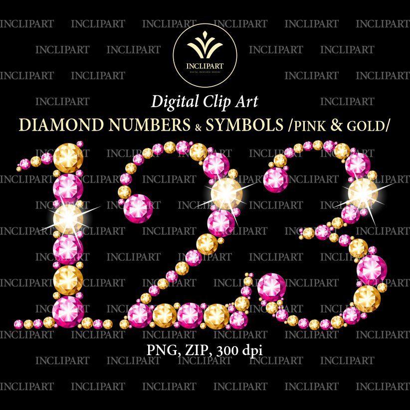Pink Gold Diamond Numbers Clipart Rhinestone Gem Crystal Etsy Pink Diamond Pink White Diamond Clip Art