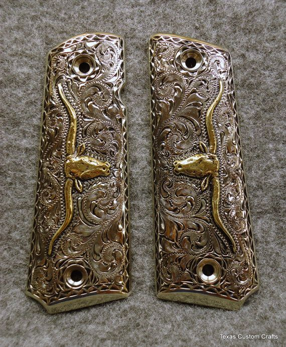 IN STOCK Hand Engraved 1911 Pistol Grips with Western Floral Pattern
