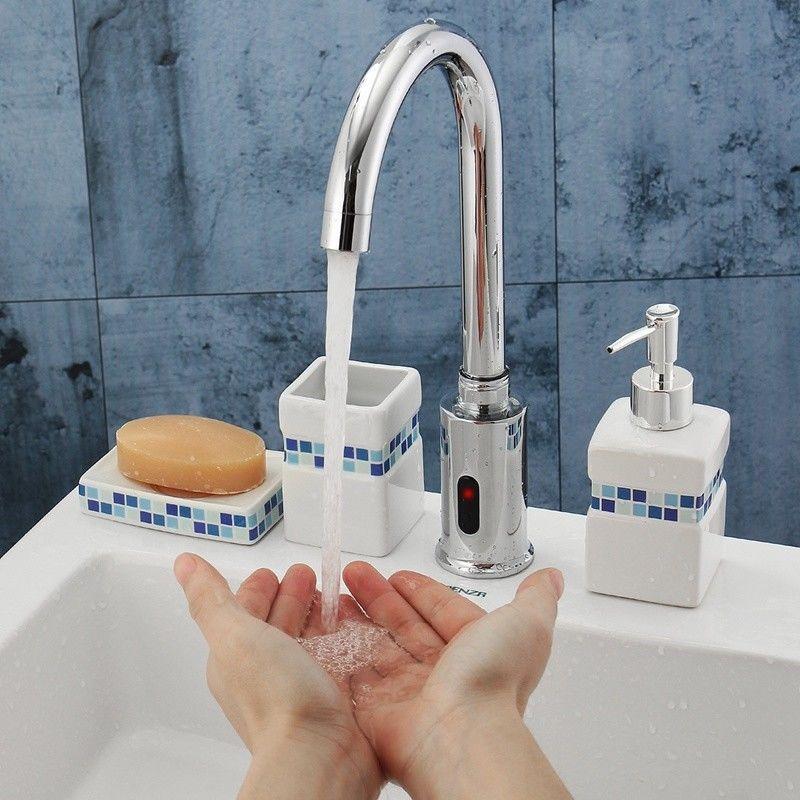 Bathroom Kitchen Faucet With Automatic Sensor Control No Handle
