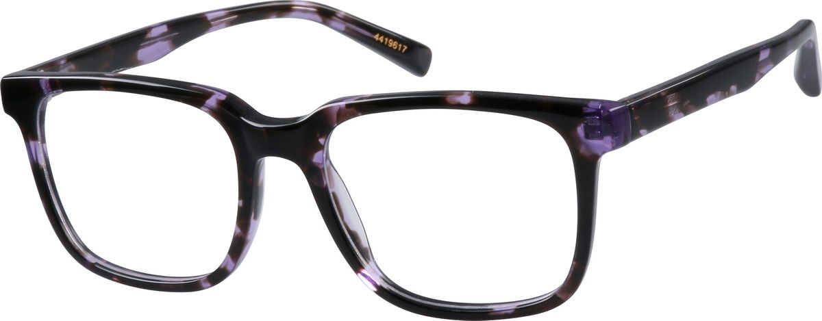 6b1dc9bb209 Zenni Square Prescription Eyeglasses Purple Tortoiseshell Plastic ...