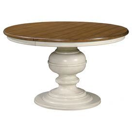 Extendable Round Dining Table With 1 Leaf And A Turned Pedestal Base Product Dining Tableconstruc Round Pedestal Dining Pedestal Kitchen Table Dining Table