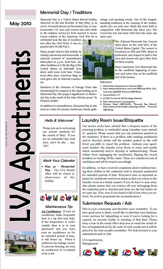 Apartment Complex Sample Newsletter Newsletter Template Free
