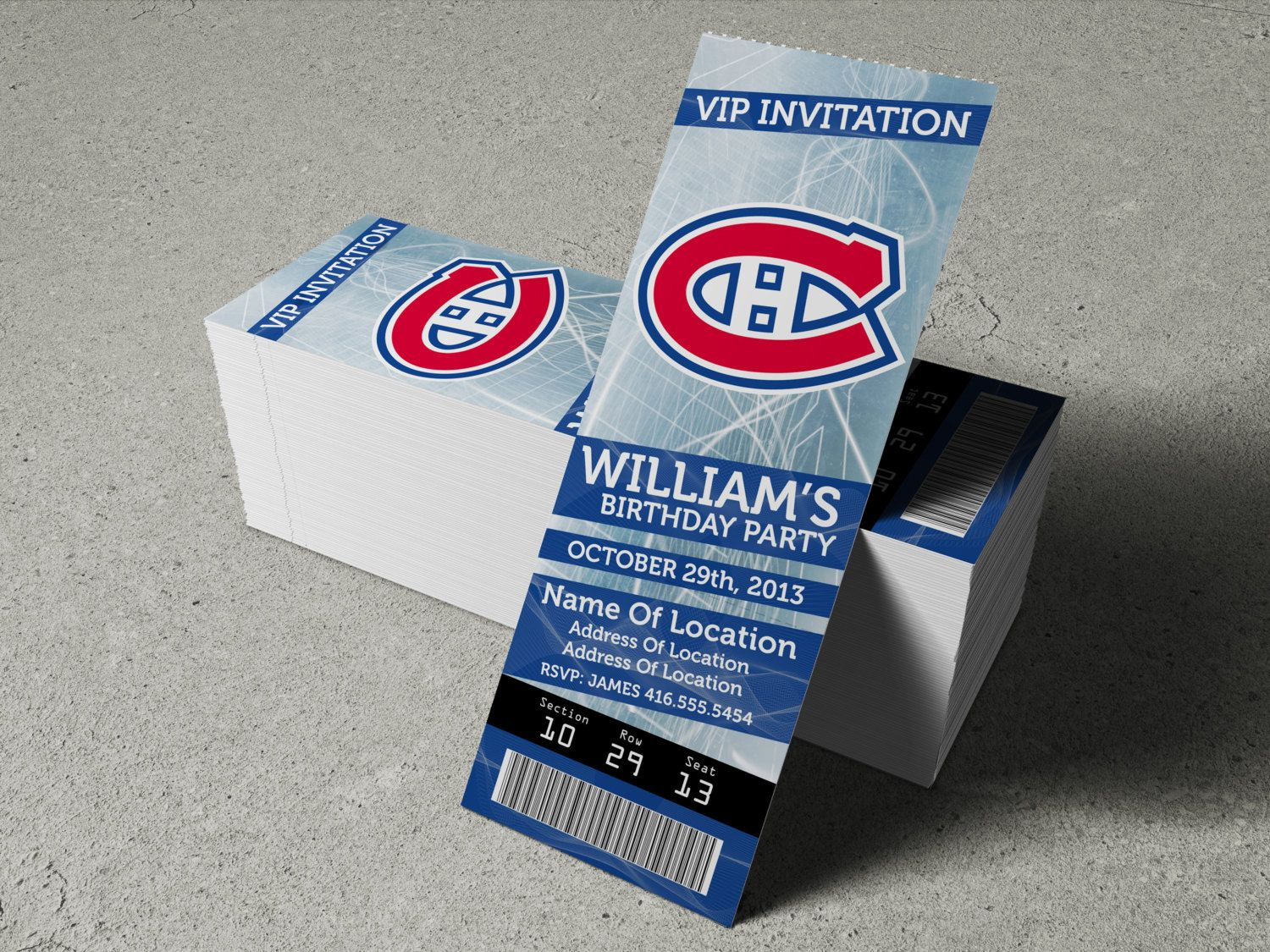 Montreal Canadiens Birthday Party/Event Ticket by MapleSyrupDesign ...