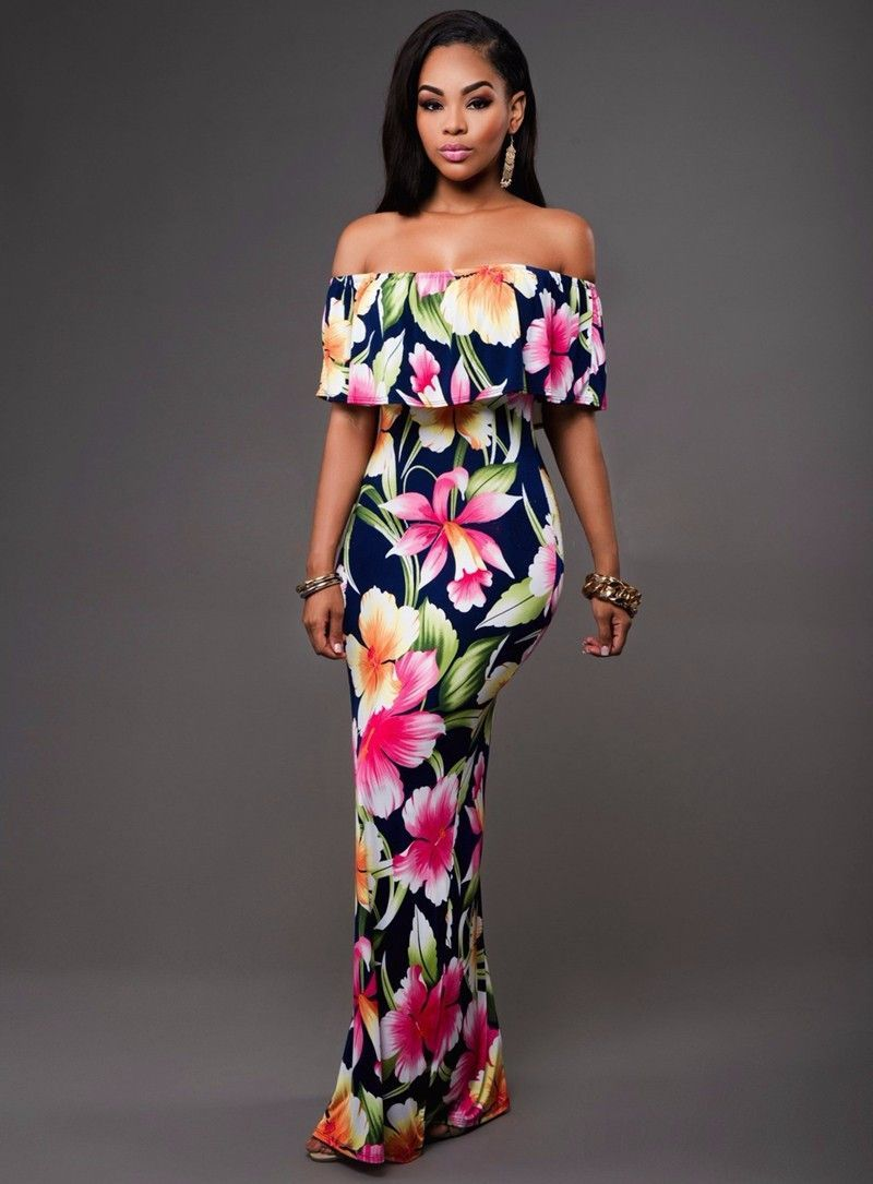 988648482eaeb Ruffle Off Shoulder Maxi Dress At Bling Brides Bouquet Online Bridal ...