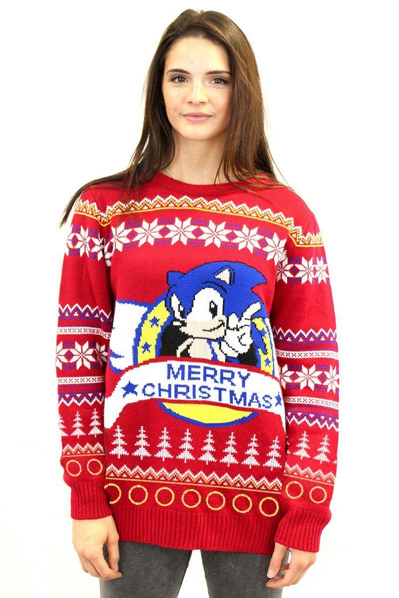 Official Sega Classic Sonic The Hedgehog Christmas Sweater Fuckin