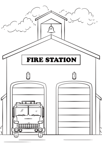 Fire Station Coloring page National