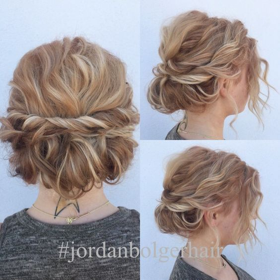 25 Cute Easy Updos For Short Hair 2018 2019 On Haircuts On Haircuts Short Hair Updo Curly Hair Styles Naturally Hairdos For Short Hair
