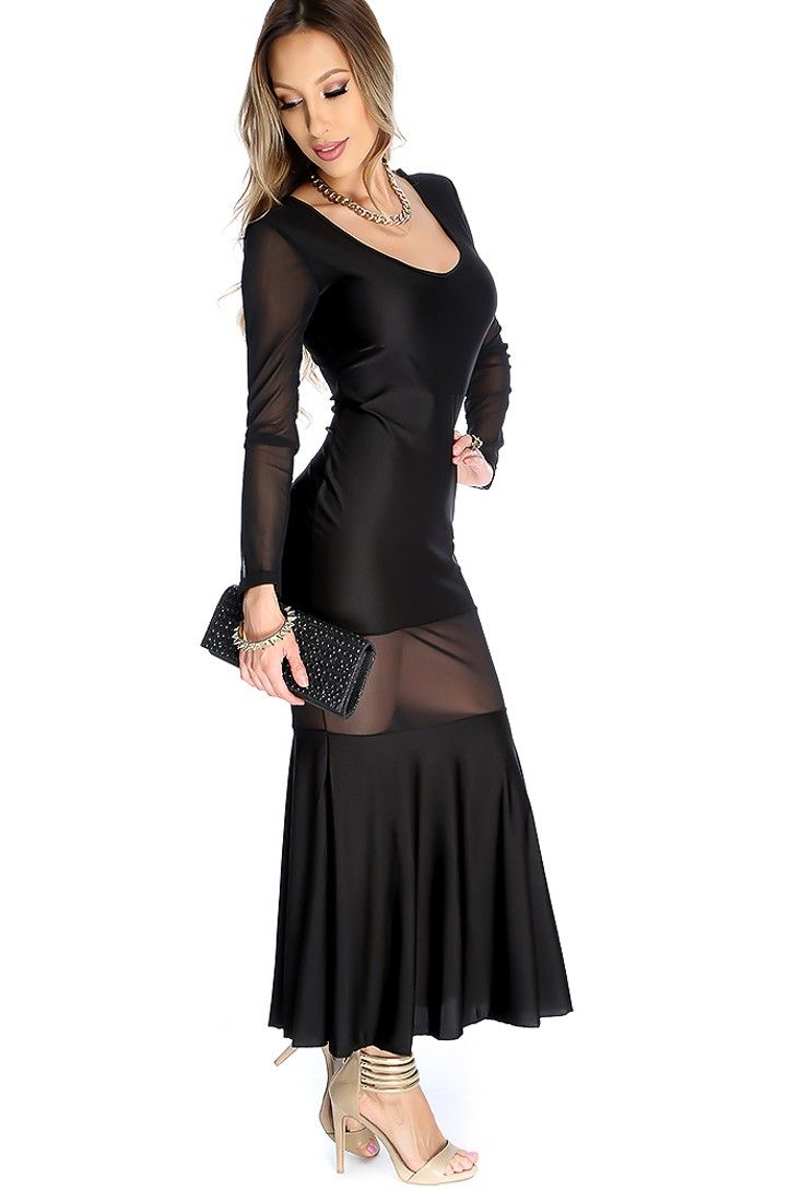 Sexy black mesh cut out long sleeve maxi dress pinterest long