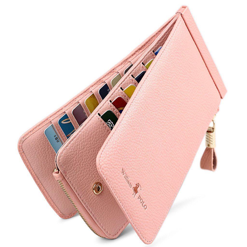 0178c46fa2a4 William POLO Women's Genuine Leather Zipper Slim Wallet Long Style ...