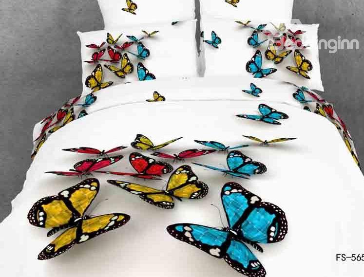 Yellow Blue 3d Butterfly Print White Color Duvet Cover 4 Piece Bedding Sets Beddinginn Com Butterfly Bedding Set Butterfly Bedding White Bed Set