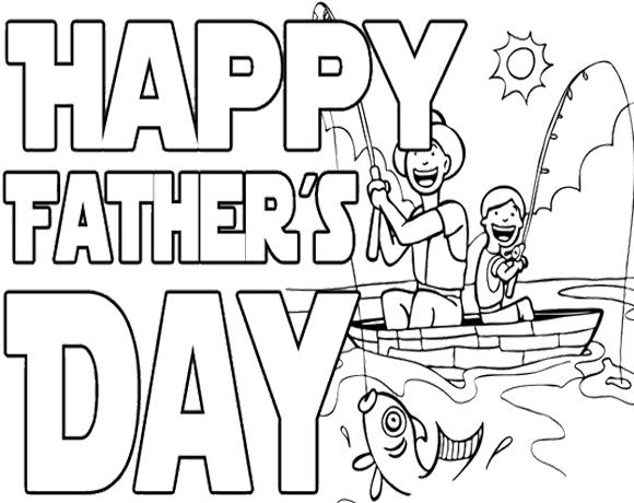 Happy Fishing On Father S Day Coloring Page Fathers Day Coloring Page Happy Fathers Day Images Happy Fathers Day