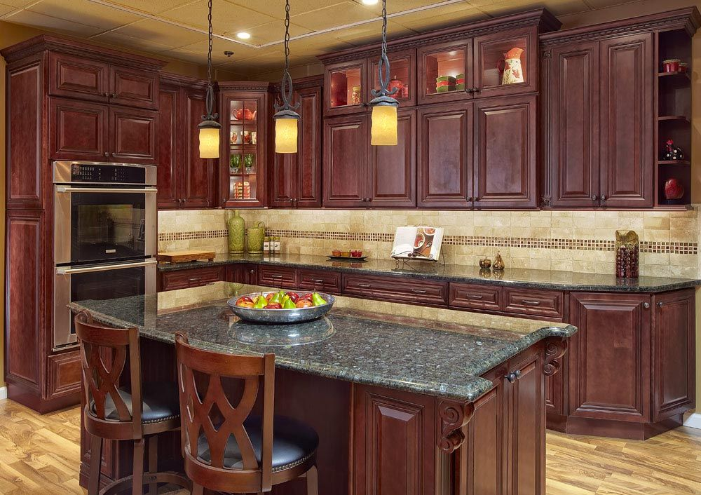 Kitchen Remodel Pictures Cherry Cabinets Cherry Cabinets With Light Granite Countertops  Google Search