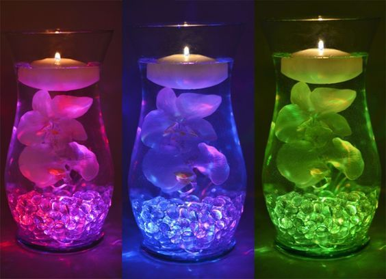 Color changing centerpiece that costs less than $16 to make! --> via Top 7 Inexpensive Centerpiece Ideas from Save-On-Crafts