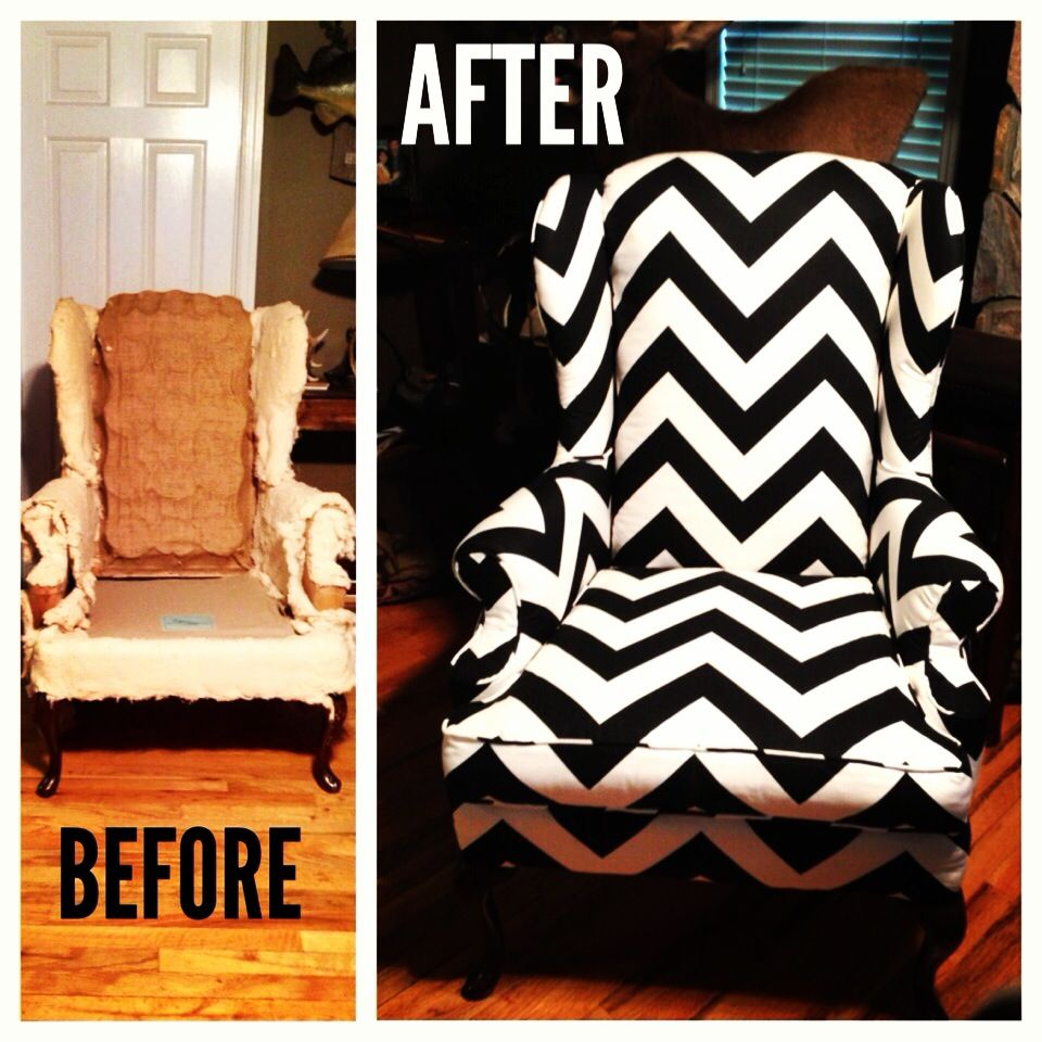Chevron wing chairs - Reupholstered Wingback Chair In Chevron