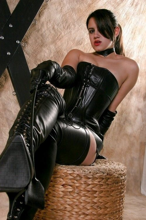 A Young But Capable Domme Leather Dresses Leather Outfits Black Thigh High